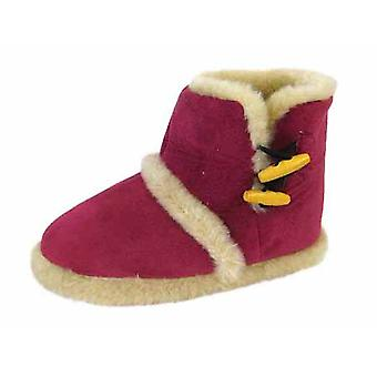 Coolers Womens Microsuede Toggle-Fastening Boot Slippers 3/4 UK Fushia