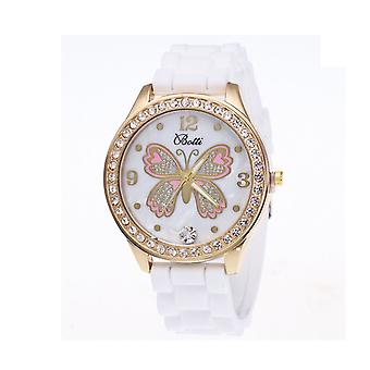 Lovely Gold Butterfly Watch Love Time Funky Present Gift White Diamond Pearl