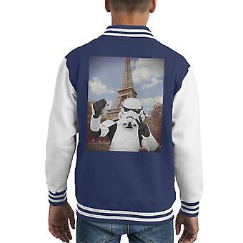 Original Stormtrooper Selfie Eiffel Tower Kid's Varsity Jacket