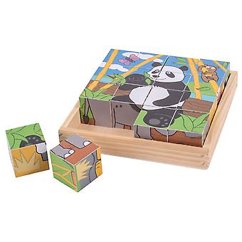 Bigjigs Toys Chunky Wooden Wild Animal Cube Puzzle Educational Jigsaw