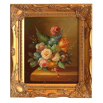 Flowers, oil painting with frame, inner dimensions 20x25 cm
