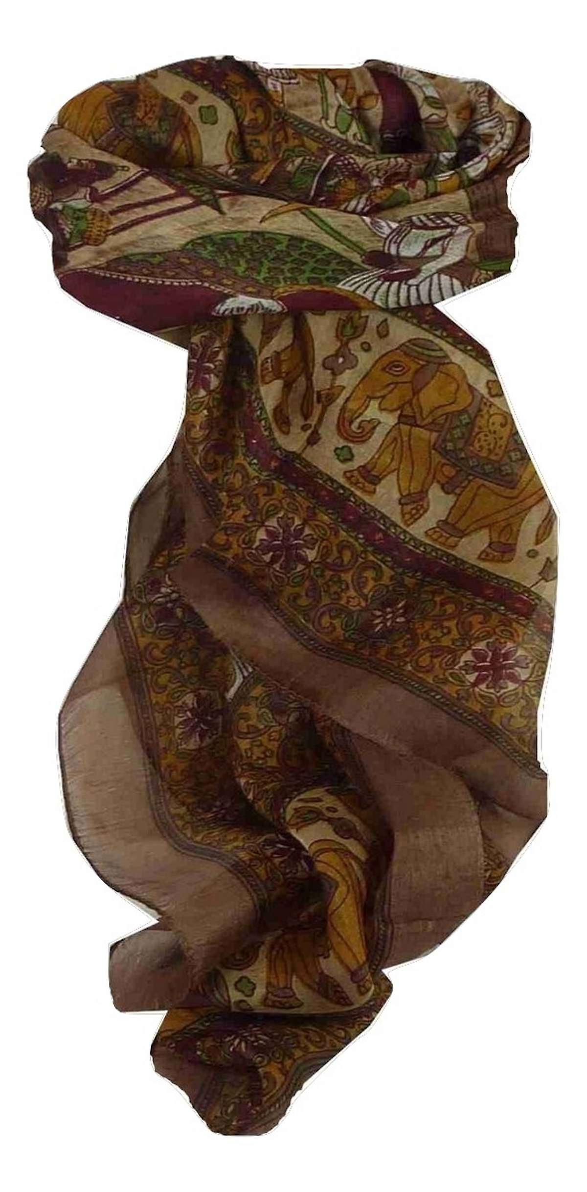 Mulberry Silk Traditional Square Scarf Farrin Coffee & Wine by Pashmina & Silk
