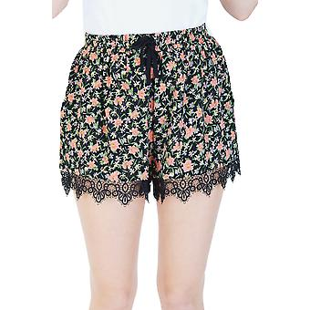 LYDC Black High Waisted Floral Draw String Shorts
