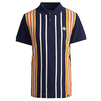 PRETTY GREEN Engineered Stripe Navy Polo Shirt