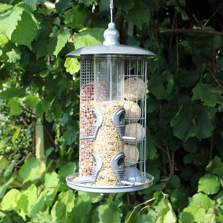 Natures Market BF038 Deluxe 3 in 1 Metal Wild Bird Nut Seed & Suet Fat Ball Feeders