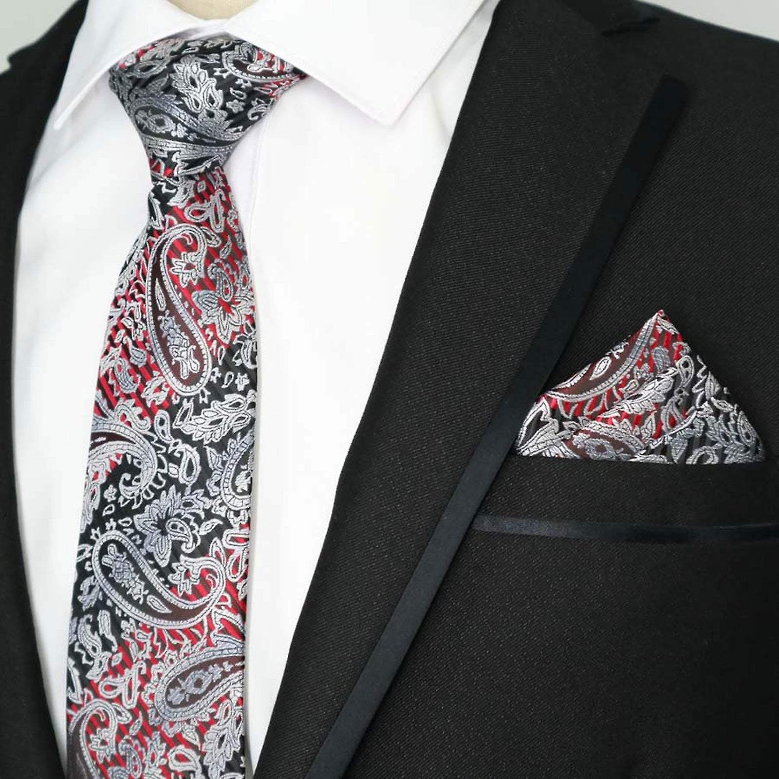 Red silver & black pattern paisley pocket square & tie