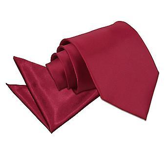 Satynowy krawat Burgundii zwykły & placu kieszeni zestaw