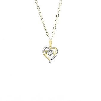 Eternity 9ct 2 Couleur Jaune - Or Blanc 'I LOVE YOU' Heart Pendant And 16'' Trace Chain