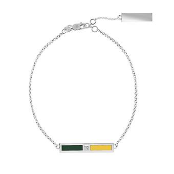 University of Vermont Sterling Silver Diamond Bar Chain Armband i grönt och gult