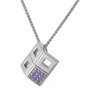 CHAIN WITH PENDANT 4 RECHTANGLES 925 SILVER WITH PURPLE ZICONIUM