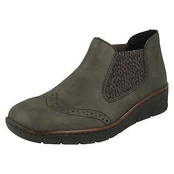 Botas de tobillo de tacón de cuña Rieker de señoras 537Z3