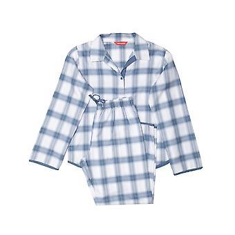 Minijammies 5507 Girl's Harper Blue Mix Check Cotton Pyjama Set