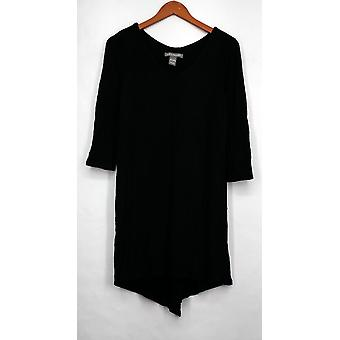 Kate & Mallory Top 3/4 Sleeve Split Back Dramatic Hemline Black A430723