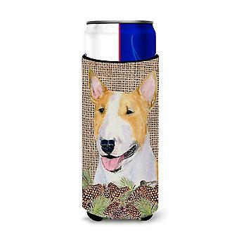 Bull Terrier auf Faux Sackleinen mit Kiefer Kegel Ultra Getränkeisolatoren für schlanke c
