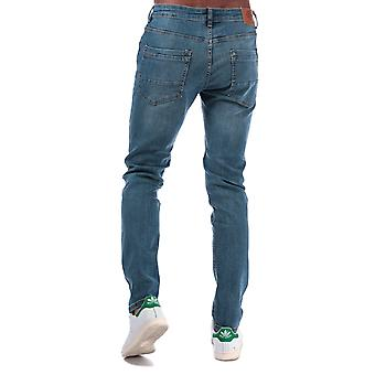 Mens Crosshatch Kiniston Skinny Ripped Jeans In Denim
