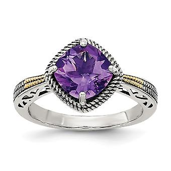 925 Sterling Silver With 14k Antiqued Amethyst Ring - Ring Size: 6 to 8