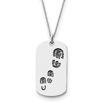 925 Sterling Silver Polished Gift Boxed Spring Ring Rhodium plated Animal Pet Dog Tag Necklace 18 Inch Jewelry Gifts for