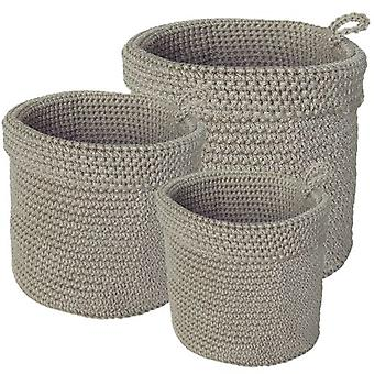 Wellindal Set of 3 beige baskets (Decoration , Boxes and baskets , Baskets)