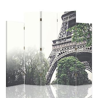 Dekorativa rumsavdelare, 5 paneler, dubbelsidig, duk, fragment av Eiffeltornet