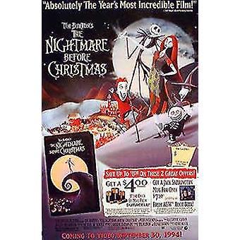 Mardrömmen före jul (enkelsidig video) original video/DVD annons affisch