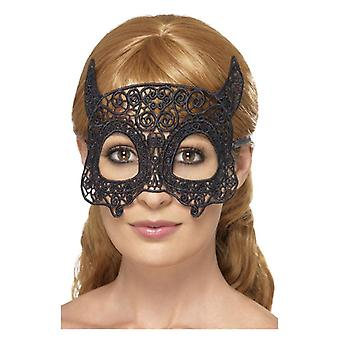 Laço bordado filigrana Devil Eyemask, preto