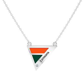 University Of Miami Engraved Sterling Silver Diamond Geometric In Necklace Orange and Green