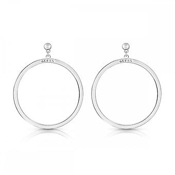 Guess Jewellery Guess White Enamel Guess Logo Hoops With Stud UBE78111