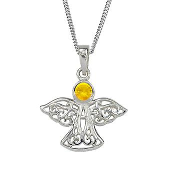 "Celtic Eternity Knotwork Angel November Birthstone Necklace Pendant - A Topaz Stone - Includes A 18"" Silver Chain"