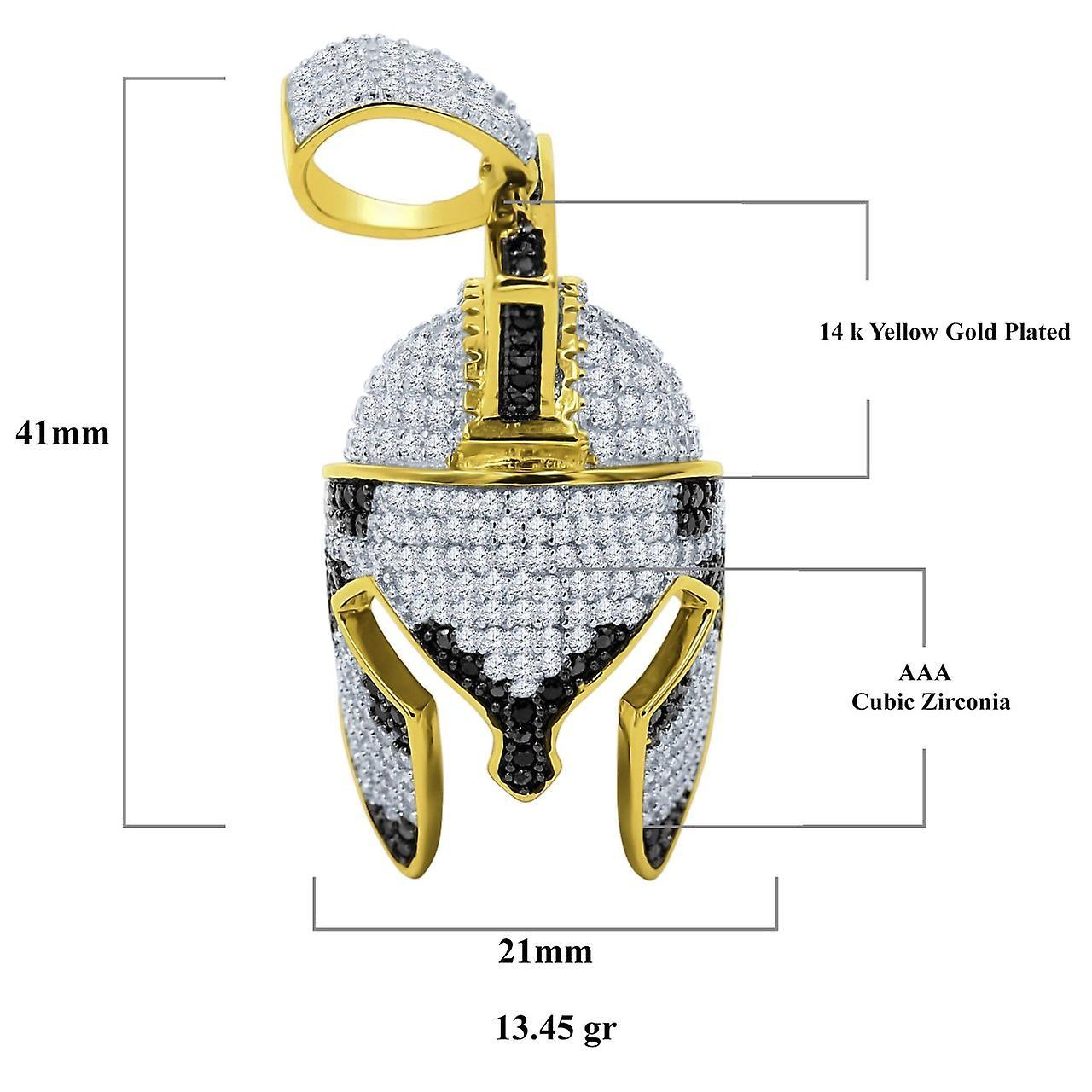 925 Sterling Silber Micro Pave Anhänger - Trojanischer Helm