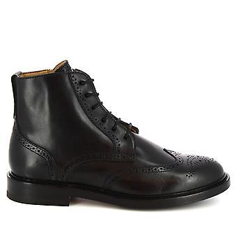 Leonardo Shoes Women's handmade lace-ups boots side zip black calf leather