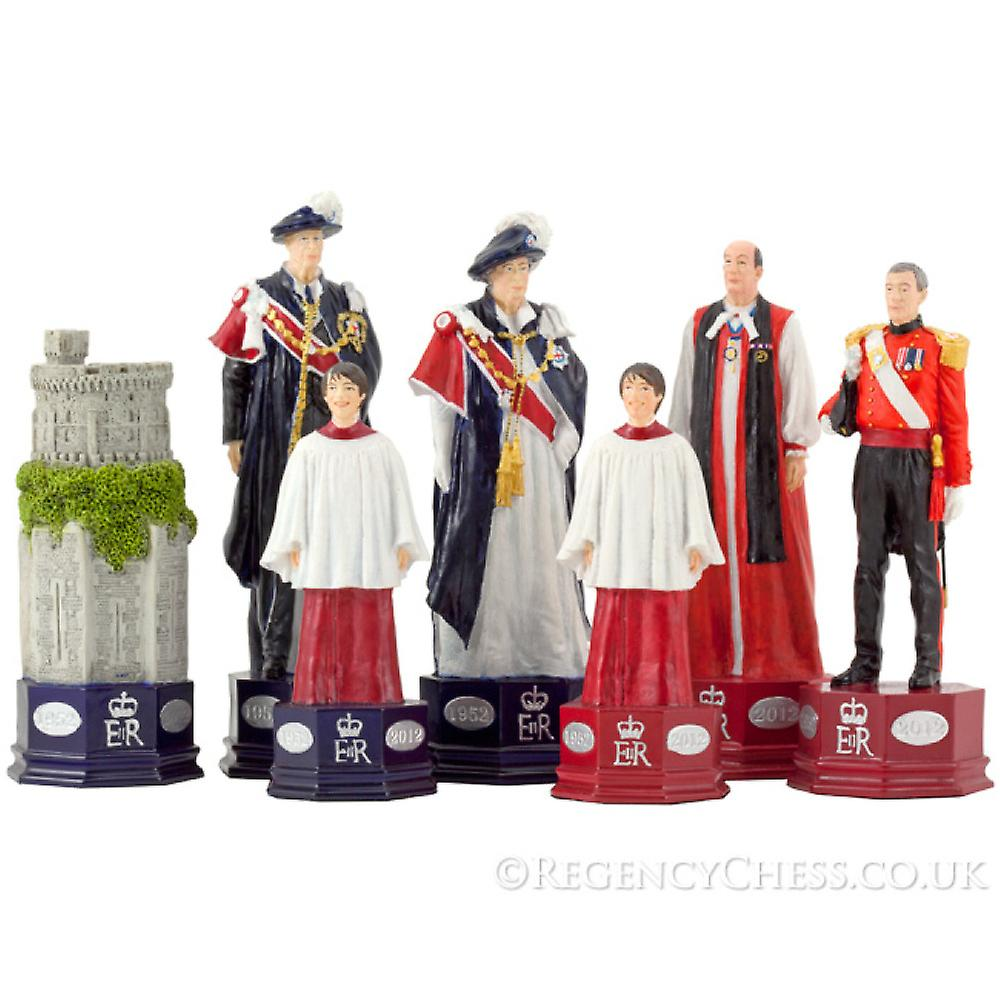 Official H.M. The Queen's Diamond Jubilee Chess Set Red Erable