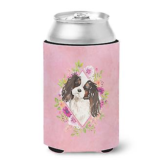 Tricolor Cavalier Spaniel Pink Flowers Can or Bottle Hugger