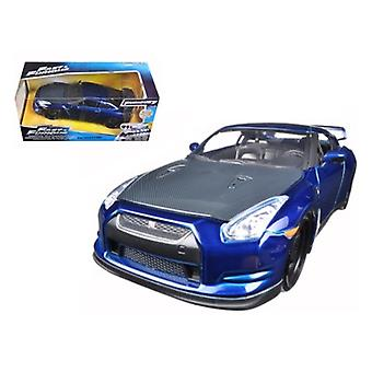 Brian'S 2009 Nissan Gtr R35 Azul -Rápido & Furioso 7 película 1/24 Diecast Modelo Coche Por Jada
