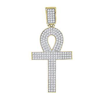 10kゴールドツートーンCZキュービックジルコニアシミュレートダイヤモンドメンズアンクハイト51.3mm X幅24.2mm宗教的な魅力ペンダントNec