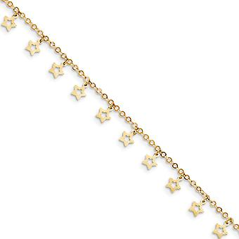 14k Gold Polished and Textured Star Anklet 10 Inch Jewelry Gifts for Women - 1.9 Grams