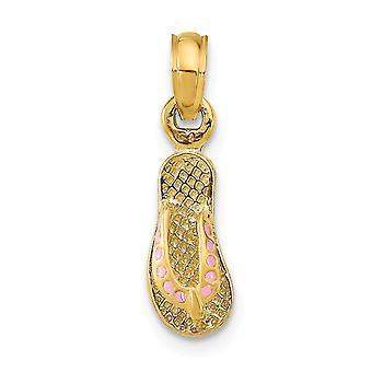 14k Gold Pink Dotted Emalje Single Flip flop Charm smykker Gaver til kvinder - 0,9 Gram