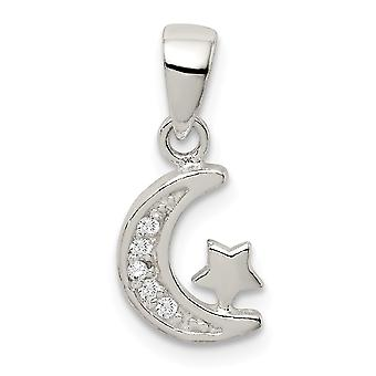 925 Sterling Silver CZ Cubic Zirconia Simulated Diamond Star and Crescent Celestial Moon Pendant Necklace Jewelry Gifts