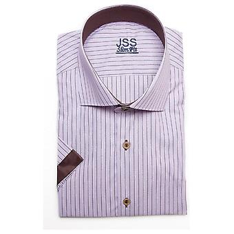 JSS Pin Striped Pink Slim Fit Short Sleeve Shirt With Brown Plain Trim