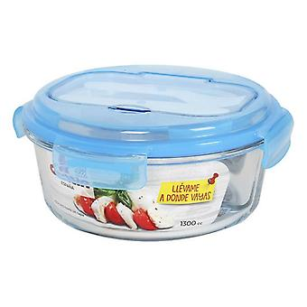 Lunchbox with Cutlery Comparment Quttin 1300 cc (ø 21 x 9,5 cm)