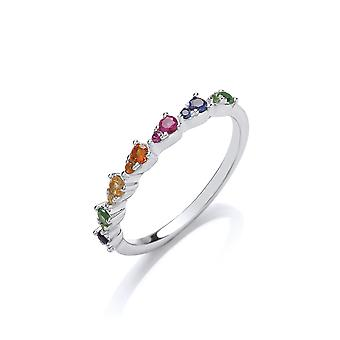 Jewelco London Rhodium Plated Sterling Silver Multi Coloured Round Brilliant Cubic Zirconia Rainbow Lil n Large Half Eternity Ring