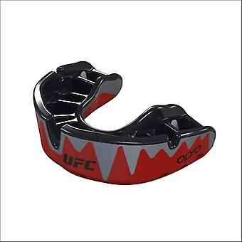 Opro ufc platinum fangz mouth guard red metal/black