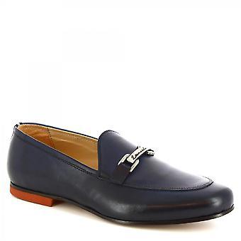 Leonardo Shoes Men-apos;s mocassins de bits chics faits à la main en cuir de veau bleu foncé