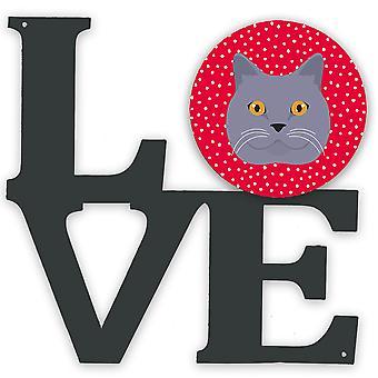 Britiske korthår katt kjærlighet metall vegg kunstverk kjærlighet