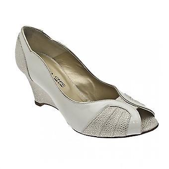 Sabrina Chic Cream Peep Toe Wedge Shoe
