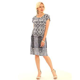 POMODORO Pomodoro Blue And White Dress 62010