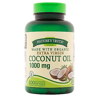 Nature's truth vitamins coconut oil, 1000 mg, quick release softgels, 100 ea