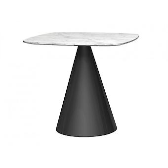 Gillmore Square Marble Dining Table With Conical Black Base