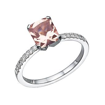3.14 CTW naturlige fersken/Rosa VS Morganite Ring med diamanter 14k hvidguld Emerald klassiske Vintage