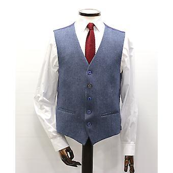 Blue Donegal Tweed Suit Waistcoat