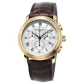 Frederique Constant Mens Classic Chronograaf bruin lederen riem FC-292MC4P5 horloge